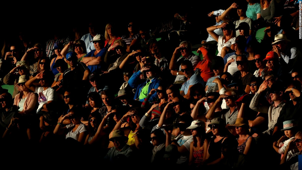 The crowd watches the January 14 match between Australia's Lleyton Hewitt and Serbia's Janko Tipsarevic.