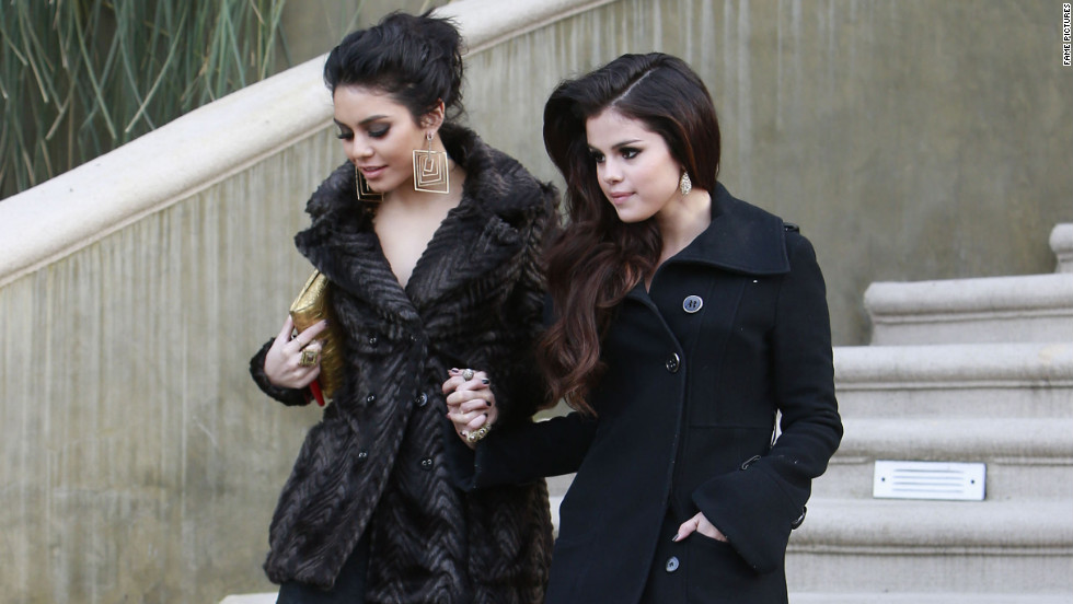 Vanessa Hudgens and Selena Gomez head to a party in Los Angeles.