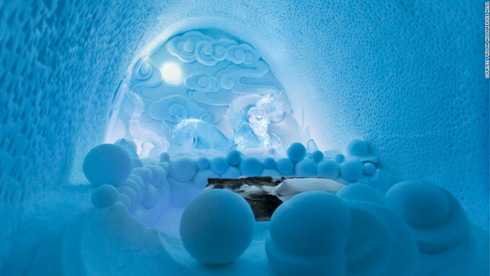 Artists Dorjsuren Lkhagvadorj and Bazarsad Bayarsaikhan designed the Dragon Residence, one of the artist-designed suites available at Sweden's Icehotel.