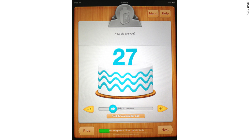 The Tonic tablet has interactive features to overcome language and literacy barriers. For instance, it uses a birthday cake slider to ask for patients' ages.