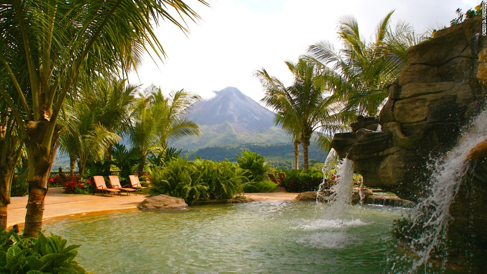 Arenal Volcano may be slipping into dormancy, but it remains a dramatic sight from the thermal pools at The Springs.