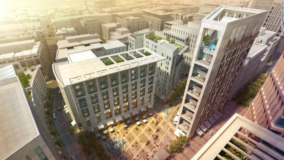 "This is an artist's impression of part of Doha, Qatar's new downtown, slated to be finished by 2016. <a href=""http://www.msheireb.com/"" target=""_blank"">Msheireb Properties</a>, the company behind the $5.5 billion development, say it will revive the old commercial heart of the city. The development will reduce the city's carbon footprint by  minimizing cars and using microclimatic effects to keep the environment cooler."