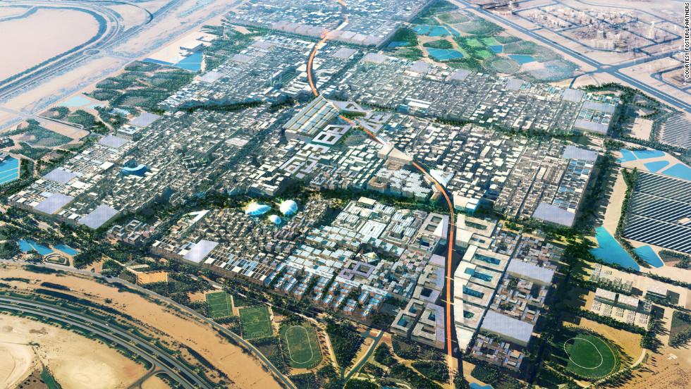 "<a href=""http://masdarcity.ae/en/"" target=""_blank"">Masdar City</a>, is a new city in the emirate of Abu Dhabi, which builders The Abu Dhabi Future Energy Company they say will be an entirely ""green,"" using only solar and other sustainable energy sources. Cars will be banned -- people will be able to travel around the city in personal rapid transit system podcars. Masdar will be completed around 2020, they say."