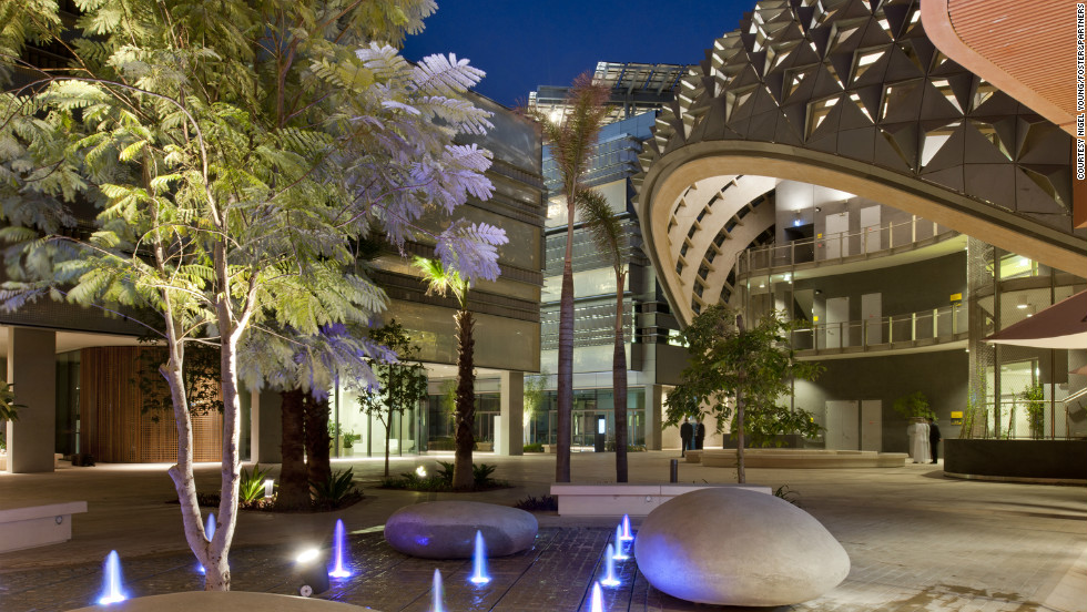 "The <a href=""http://www.masdar.ac.ae/"" target=""_blank"">Masdar Institute of Science and Technology</a> in Abu Dhabi was established in 2007.  According to the institute, the buildings are engineered to require 75% less cooling by using shades and a special material in the walls and ceilings that absorbs heat. It says they also save 70% more on electricity and drinkable water than buildings of a similar size."