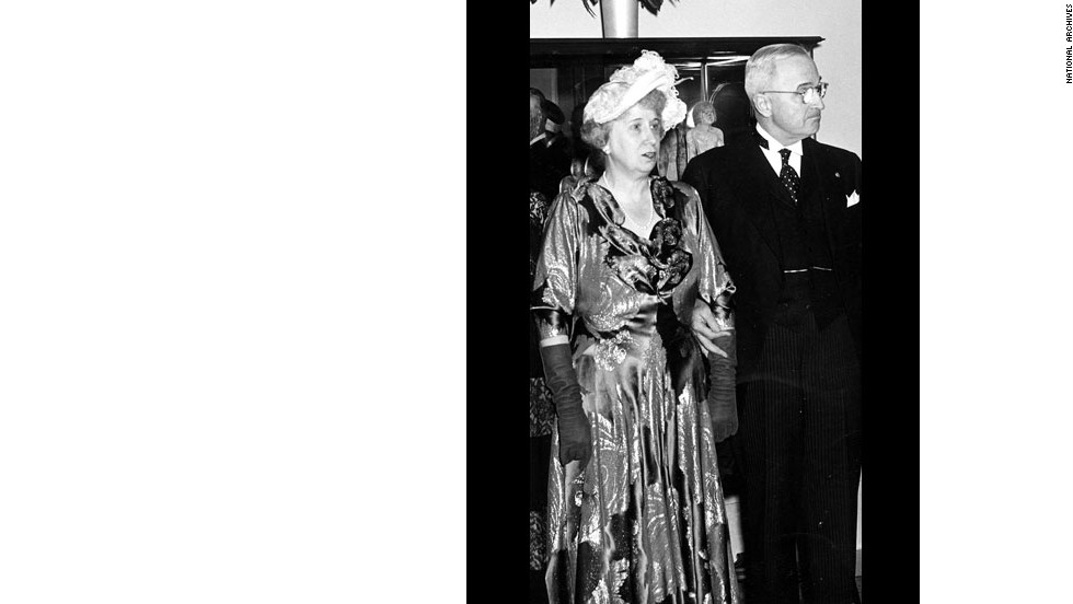 Bess and President Harry Truman at his inaugural reception in 1949.