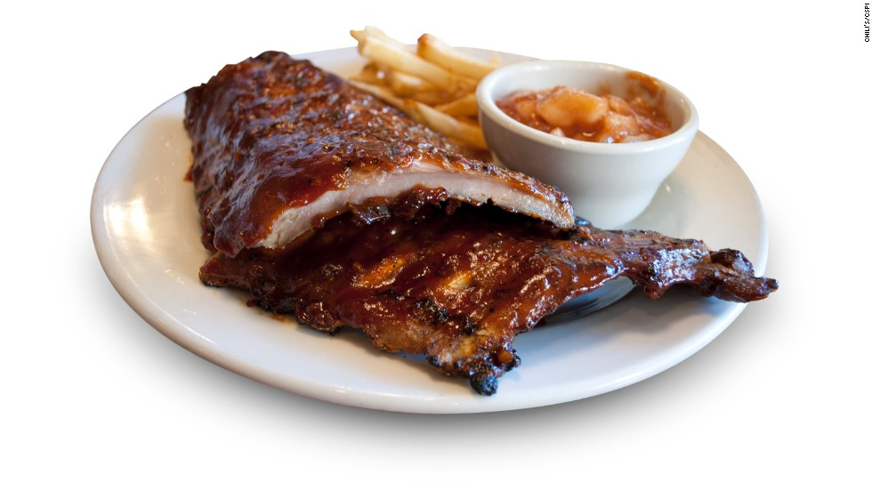 Chili's full rack of baby back ribs with Shiner Bock BBQ sauce has 1,660 calories, 39 grams of saturated fat and 5,025 milligrams of sodium. Add 670 calories if you eat the fries and cinnamon apples that come as sides.