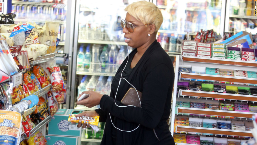 Nene Leakes looks for snacks at a gas station in Hollywood.