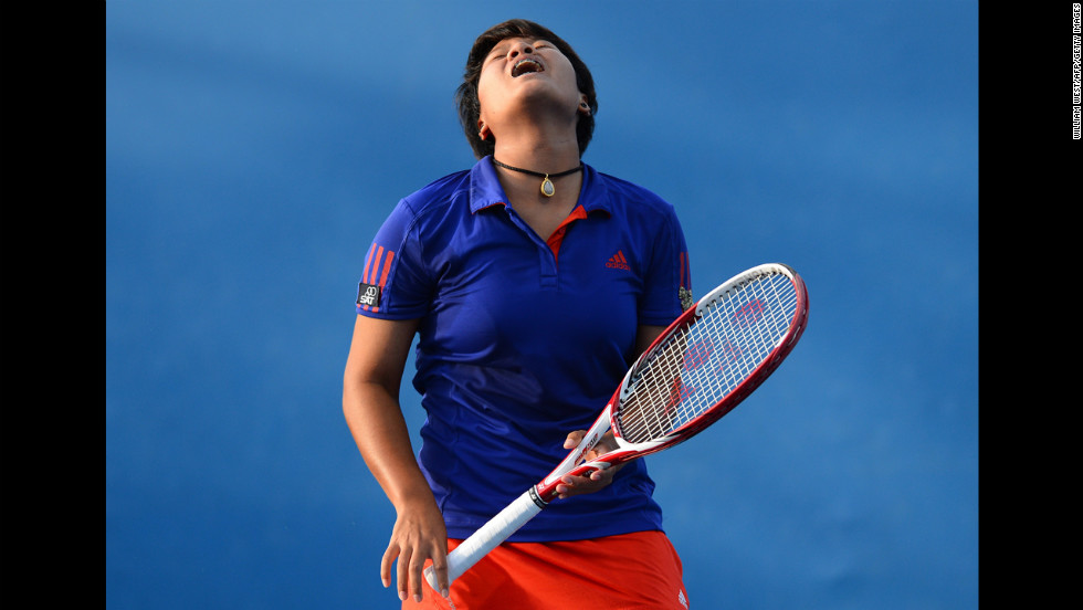 Thailand's Luksika Kumkhum reacts after a point against Hungary's Timea Babos during their women's singles first-round match on January 15. Kumkhum defeated Babos 7-6(5), 6-4.