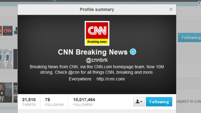 CNN's @cnnbrk Twitter account hit 10 million followers on Monday.