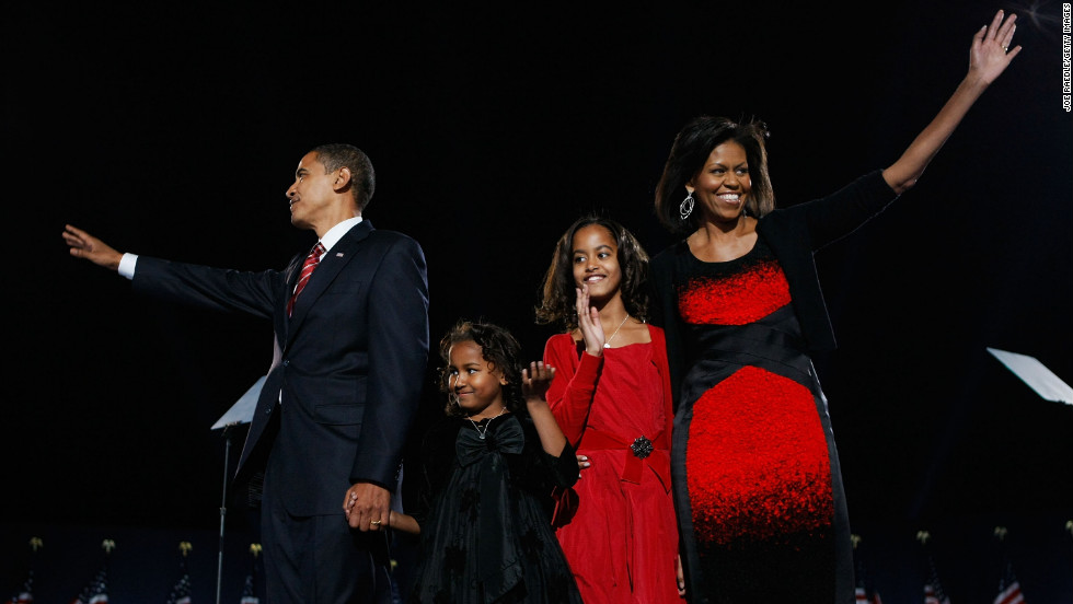 And the public's obsession with Obama's sartorial choices began with the Narciso Rodriguez sheath she wore when her family took the stage at Chicago's Grant Park after her husband's victory in the 2008 presidential election. Some lauded the choice as an eye-catching statement; others called it an eyesore.