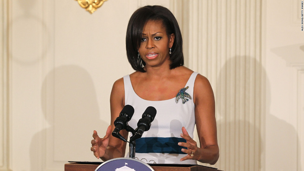 Obama showed her right to bare arms in a Zac Posen sheath at a state dinner in honor of British Prime Minister David Cameron on March 14, 2012, at the White House.