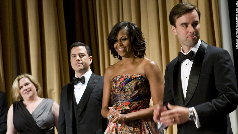 Obama wore a gown by Indian-American designer Naeem Khan at the White House Correspondents Dinner in April 2012 in Washington.