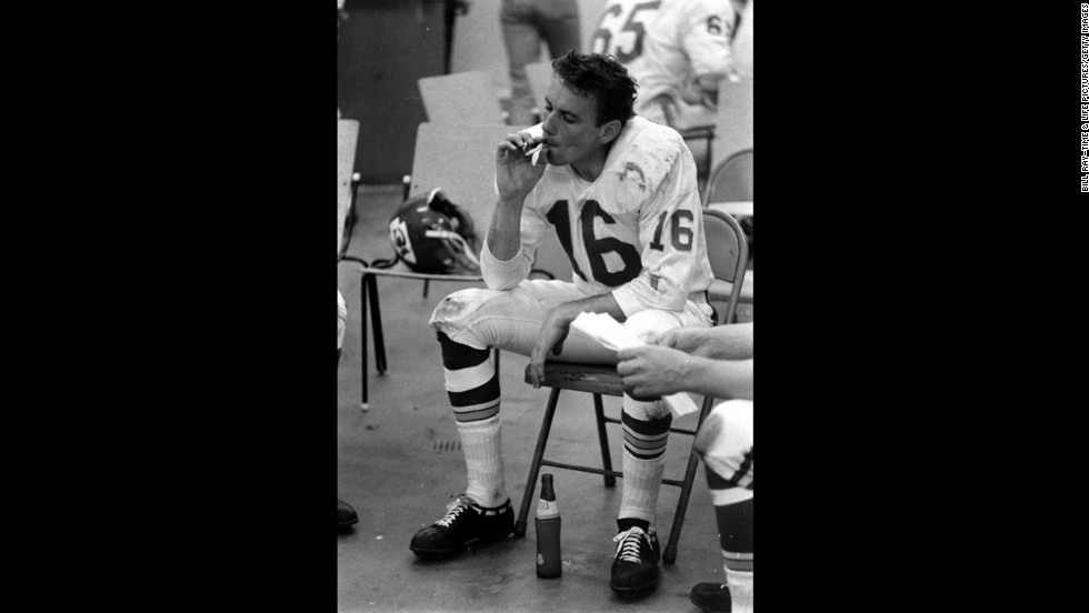 Quarterback Len Dawson in the Chiefs' locker room, Super Bowl I, 1967.