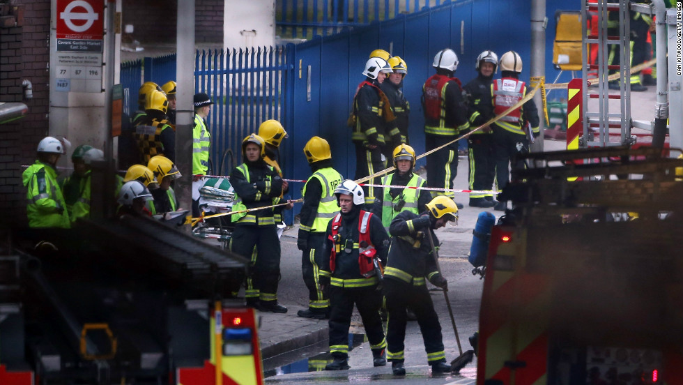 Emergency services at the scene after a helicopter reportedly collided with a crane attached to St Georges Wharf Tower in Vauxhall, on January 16 in London, England.