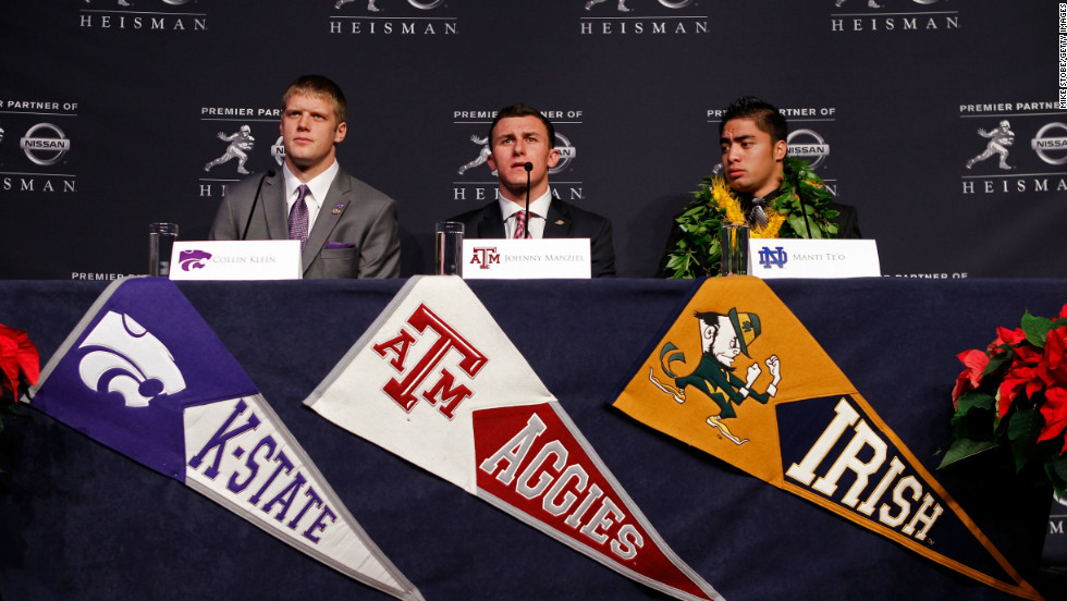Heisman finalists quarterback Collin Klein, left, of the Kansas State Wildcats, quarterback Johnny Manziel, center, of the Texas A&M University Aggies and linebacker Te'o speak during a news conference before the 78th Heisman Trophy Presentation at the Marriott Marquis on December 8, 2012, in New York City.
