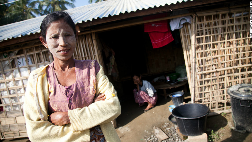 "Ma Hnin Yee, 53, has been living in West Sanpya camp with her five children since her house was burned down. ""I lost everything in the fire,"" she said. ""I didn't bring anything. The whole family had to flee for our lives. I have no idea if I will ever be able to go home."""
