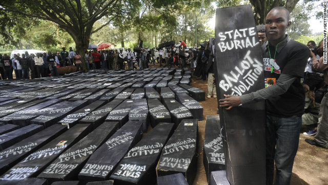 "Kenyans used symbolic coffins to ""bury"" parliament members as a show of outrage over a proposal that awards lawmakers hefty retirement packages."