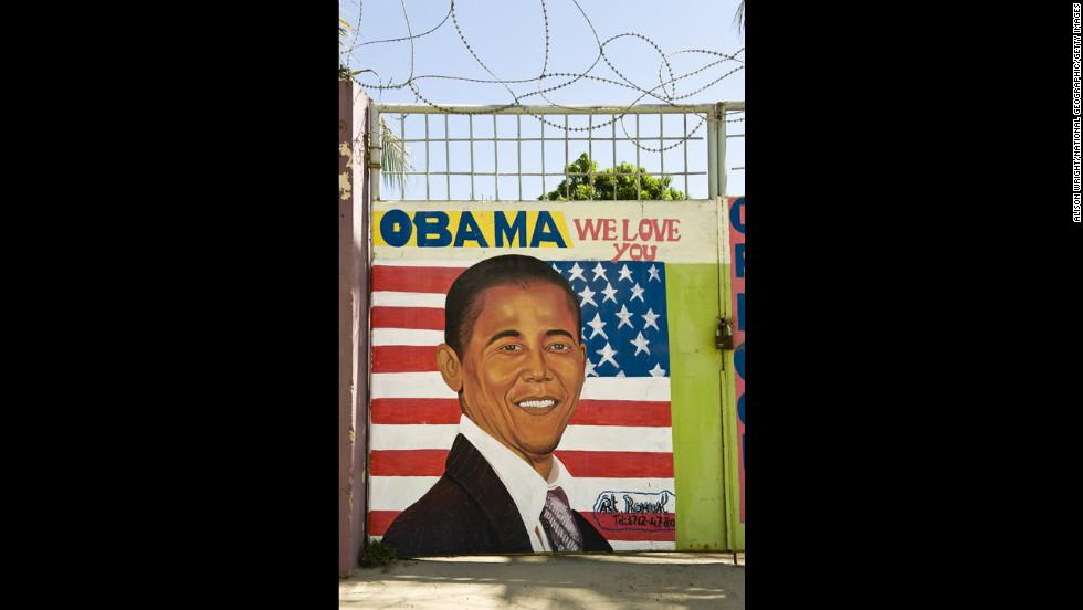 "HAITI: An ""Obama We Love You"" sign in Cap Haitien, Haiti."