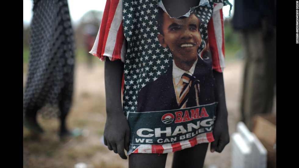SUDAN: A boy wears a T-shirt with Obama's image in Koch on November 13, 2010.