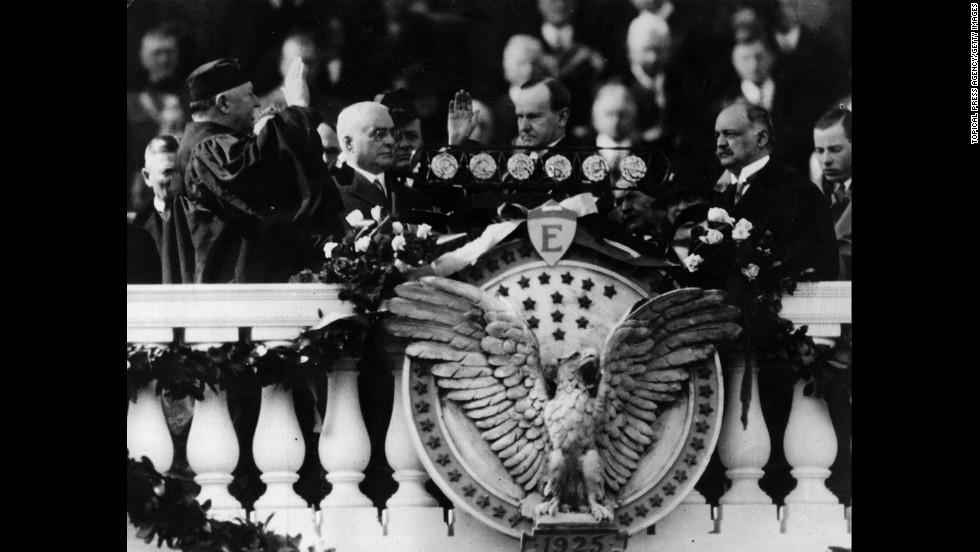 Calvin Coolidge is sworn in for his second term on March 4, 1925.
