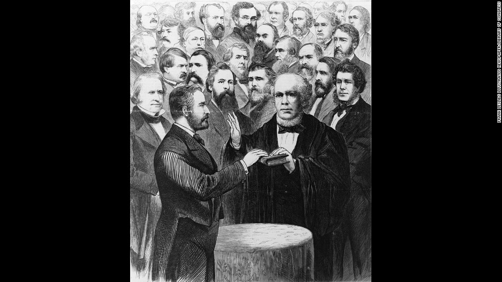Chief Justice Salmon P. Chase administers the oath of office for Ulysses S. Grant's second term on March 4, 1873.
