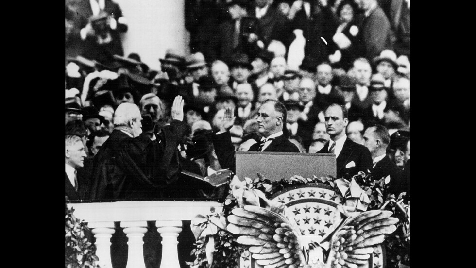 Franklin Delano Roosevelt is sworn in for his first term on March 4, 1933.