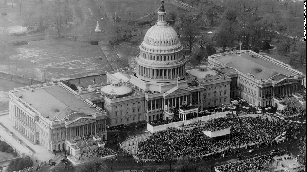 A crowd gathers outside the U.S. Capitol for Dwight D. Eisenhower's second inauguration on January 20, 1957.