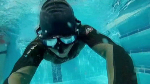 Freediver holds his breath for success