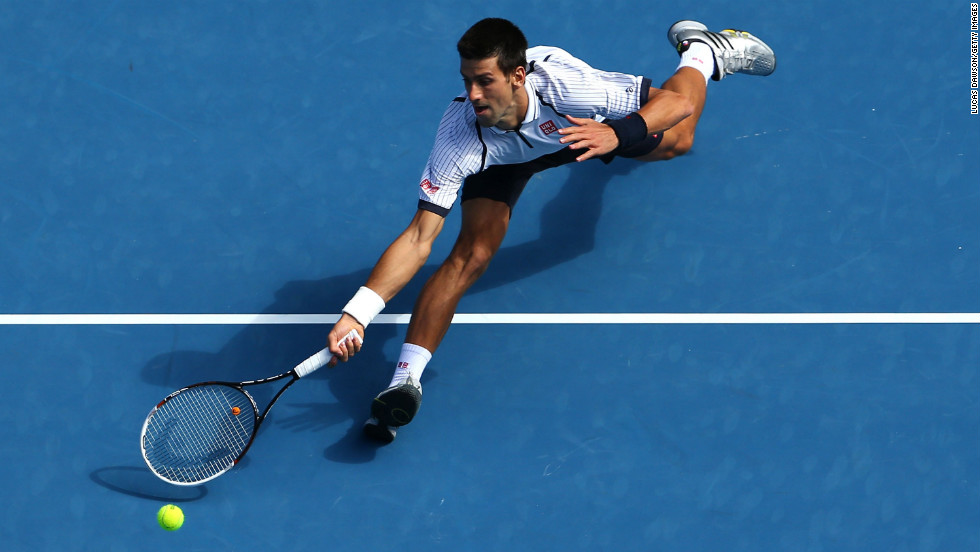 Djokovic plays a forehand in his third-round match against Stepanek on January 18.