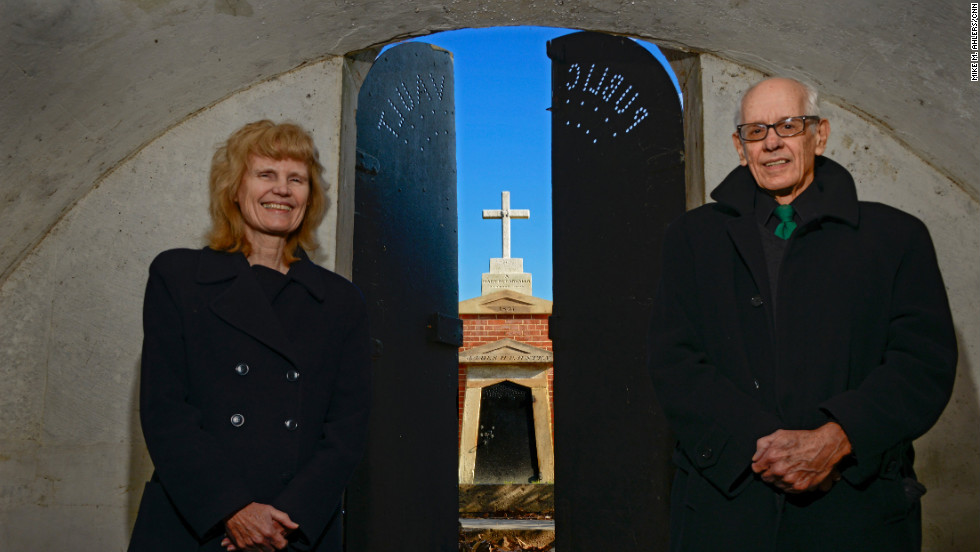 "Ronald and Abby Johnson, professors of history and literature, respectively, at Georgetown University, recently published ""In the Shadow of the United States Capitol: Congressional Cemetery and the Memory of the Nation."" They are standing in the ""Public Vault"" at the cemetery."