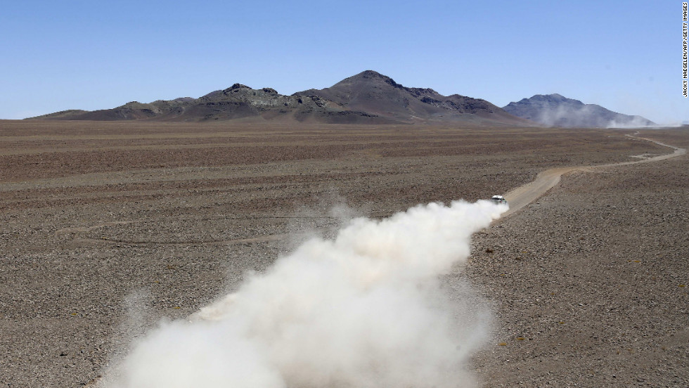 Stephane Peterhansel and co-driver Jean Paul Cottret, both from France, drive their Mini during Stage 13 of the 2013 Dakar Rally between Copiapo and La Serena, in Chile, on Friday, January 18.