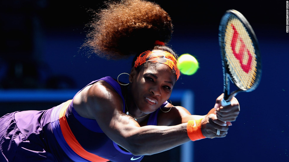 Serena Williams of the United States plays a backhand in her third round match against Ayumi Morita of Japan, on January 19.