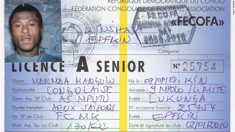 In another document obtained by CNN, Mbemba was registered by his second Congolese club -- Mputu -- as also having been born on August 8,1988.