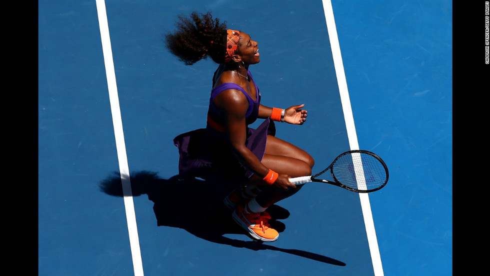 Serena Williams of the United States reacts in her third-round match against Ayumi Morita of Japan on January 19.