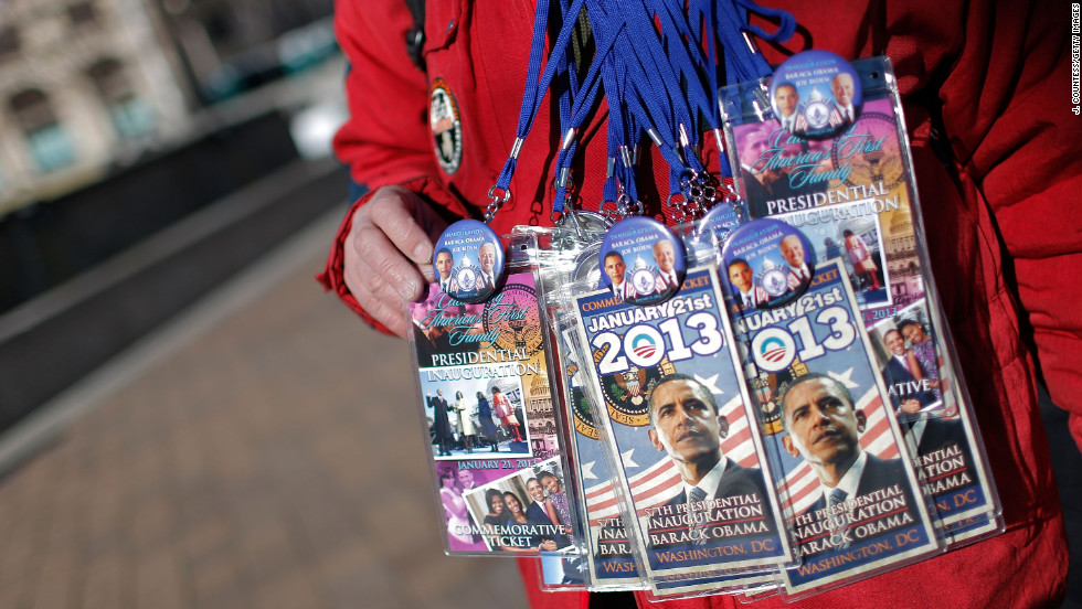 A souvenir salesman displays inauguration memorabilia on sale on Friday.