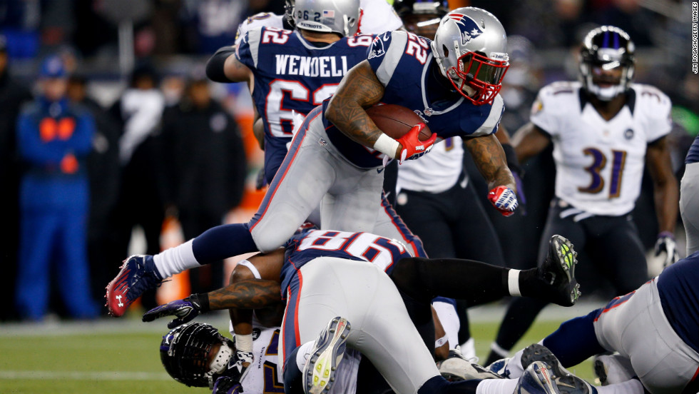 Stevan Ridley of the Patriots runs the ball against the Ravens.
