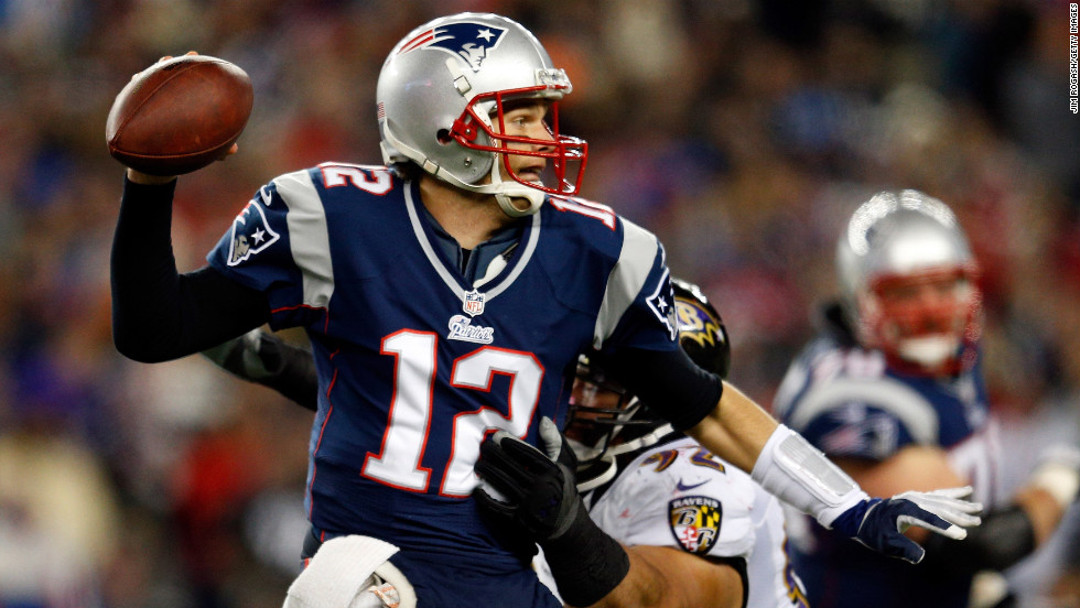 Patriots quarterback Tom Brady gets pressured by Haloti Ngata of the Baltimore Ravens.