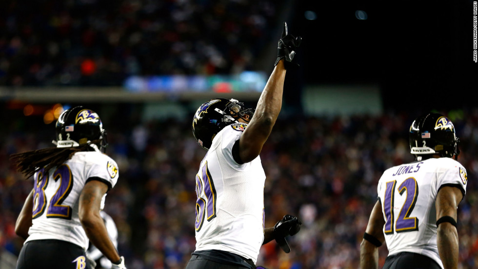 Anquan Boldin of the Baltimore Ravens celebrates with his teammates after scoring his second touchdown in the fourth quarter against the New England Patriots during the AFC Championship game at Gillette Stadium in Foxboro, Massachusetts, on Sunday, January 20.