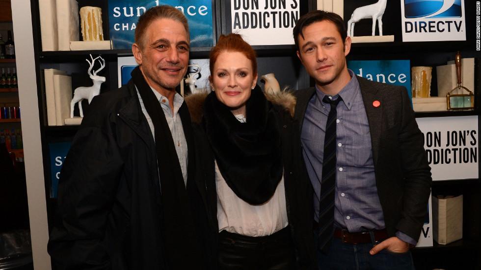 "Tony Danza, left, Julianne Moore and Joseph Gordon-Levitt at the ""Don Jon's Addiction"" premiere party."