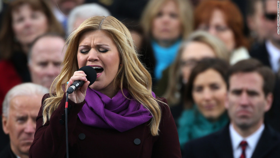 "Kelly Clarkson performs ""My Country 'Tis of Thee"" during the presidential inauguration ceremony on January 21."