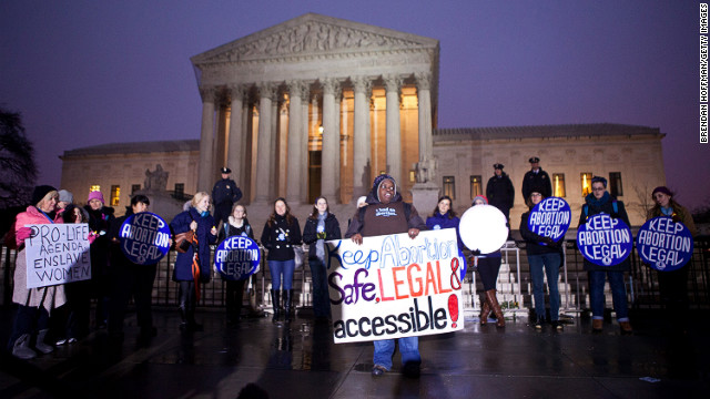 Pro-choice activists mark last year's anniversary of Roe v. Wade outside the U.S. Supreme Court in Washington.