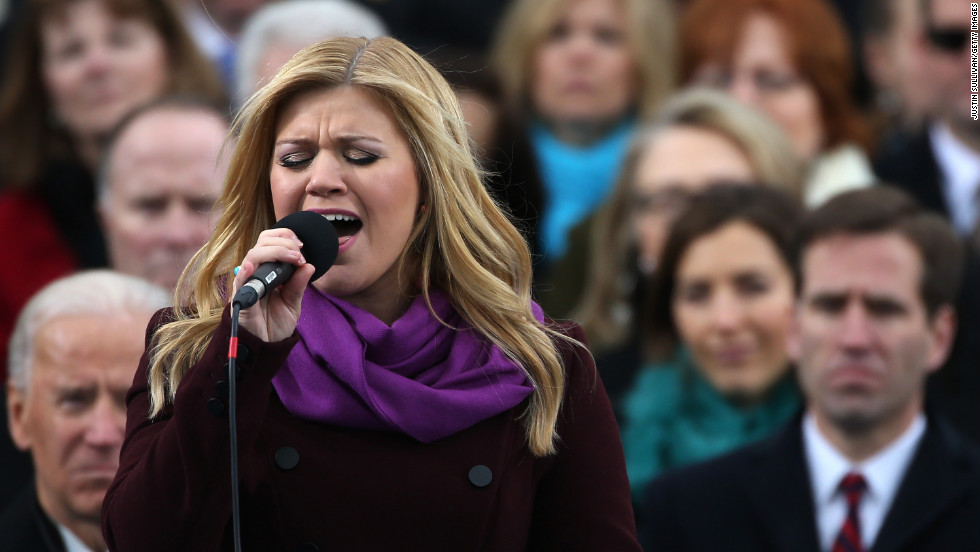 "Kelly Clarkson performs ""My Country 'Tis of Thee"" during the presidential inauguration."