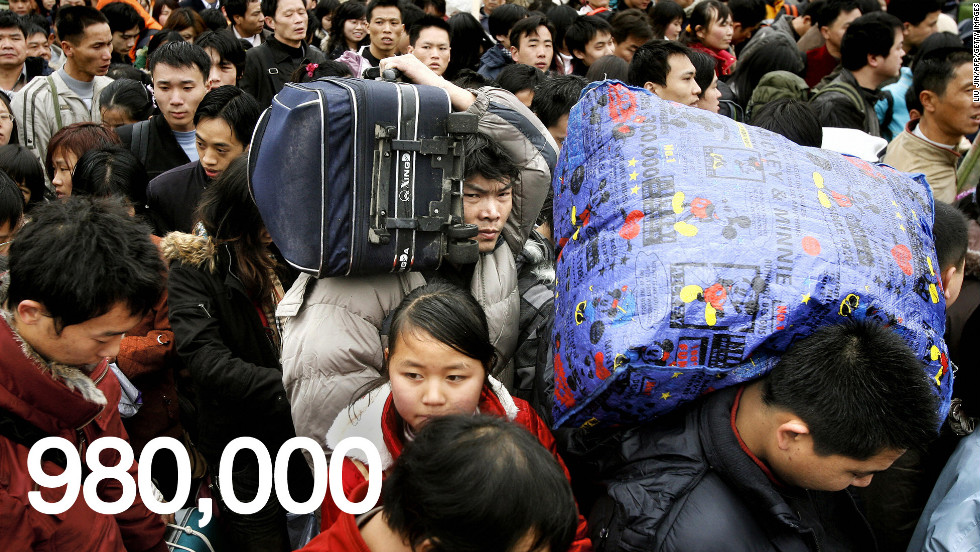 The national government estimates 7 million people will take trains on the peak travel days of February 6 and 7. In the capital, Beijing, 980,000 people are expected to use train services on each of those two days.