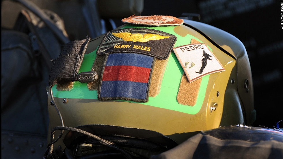 Harry's crash helmet sits in the cockpit of an Apache helicopter on November 1, 2012.