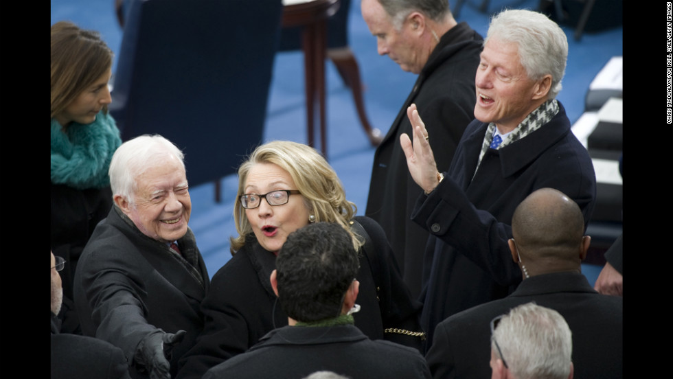 Former President Jimmy Carter, left, Secretary of State Hillary Clinton, center, and former President Bill Clinton arrive at the Inauguration for President Obama's second term of office on Monday.