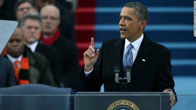 U.S. President Barack Obama speaks after being sworn in during the presidential inauguration on the West Front of the U.S. Capitol January 21, 2013 in Washington, DC.