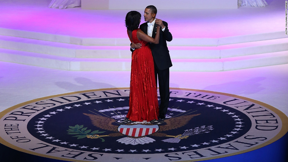 President Obama dances with the first lady at the Commander-in-Chief's Ball.