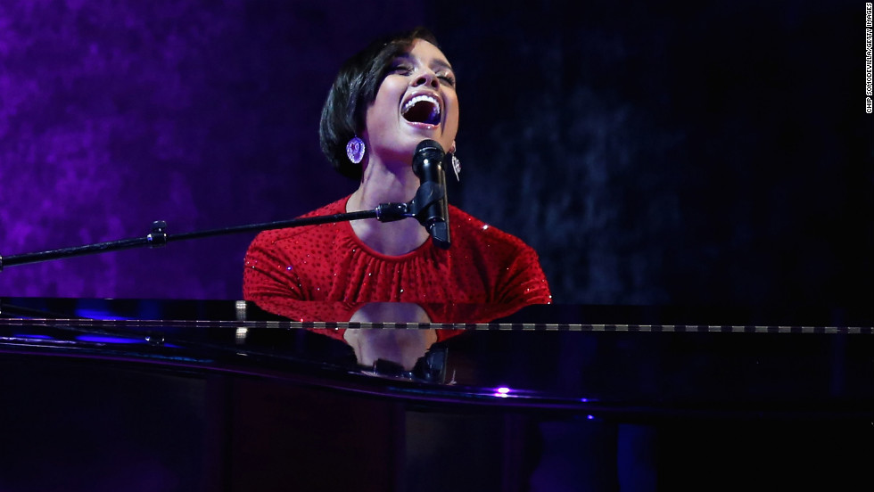 "Alicia Keys performs during the Commander-In-Chief's Ball. She sang a twist on her hit song ""Girl on Fire,"" changing the lyrics to ""Obama's on fire."""