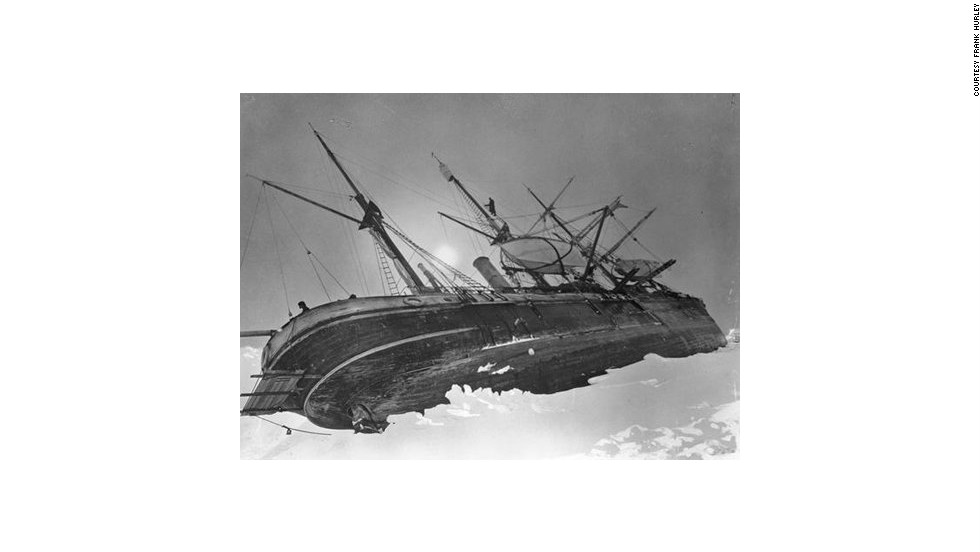 Another original photo shows Shackleton's  vast ship <em>Endurance</em> trapped lop-sided in the ice on October 19, 1915.
