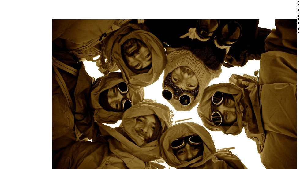 Jarvis and his five crew mates huddle in full 1920s explorer apparel for an appropriately sepia-hued photo taken on their way to Elephant Island.